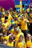 被到达的风扇瑞典乌克兰语 库存图片