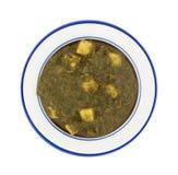 被制成菜泥的菠菜和土豆服务在盘 免版税库存图片