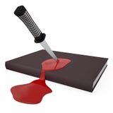 被刺中的书和出血, 3D 免版税图库摄影