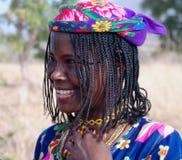 被刺字的Mbororo Wodaabe部落妇女亦称画象在勃利,喀麦隆 图库摄影