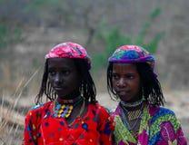 被刺字的Mbororo Wodaabe部落妇女勃利,喀麦隆亦称画象  免版税库存照片