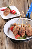 被剁碎的kebabs肉 免版税库存图片