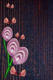 被削减的切片异常的花束与果壳的红紫色和葱在木背景,顶视图,拷贝空间, 库存图片