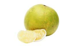 被剥皮的成熟绿色柚 免版税库存照片