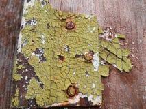 被剥皮的油漆和生锈的螺丝在门铰链  库存图片