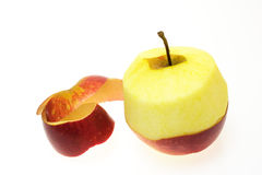 被剥皮的苹果 免版税库存图片