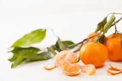 被剥皮的蜜桔和果皮与叶子在白色背景 免版税库存照片