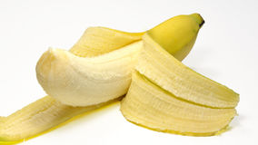 被剥皮的香蕉 免版税库存照片