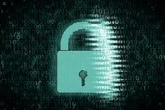 被加密的数据的概念图象在计算机的 在数字式绿色背景前面的明亮的锁 图库摄影