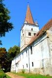 被加强的中世纪撒克逊人的教会在村庄Cincu, Grossschenk,特兰西瓦尼亚,罗马尼亚 免版税图库摄影