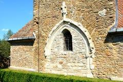 被加强的中世纪撒克逊人的教会在村庄Malancrav,特兰西瓦尼亚 免版税库存图片