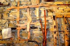 被加强的中世纪撒克逊人的教会的博物馆在村庄Crit -克洛伊茨,特兰西瓦尼亚 库存照片