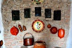 被加强的中世纪撒克逊人的教会的博物馆在Calnic,特兰西瓦尼亚 免版税库存图片