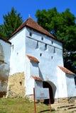 被加强的中世纪撒克逊人的教会的塔在村庄Crit,特兰西瓦尼亚 免版税库存照片