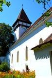 被加强的中世纪撒克逊人的教会的庭院在Cinsor-Kleinschenk,锡比乌县 免版税库存图片