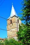 被加强的中世纪撒克逊人的教会的庭院腾飞,布拉索夫县,特兰西瓦尼亚 废墟 图库摄影