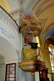 被加强的中世纪撒克逊人的教会的讲坛在Cristian 免版税库存图片