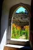 被加强的中世纪撒克逊人的教会的门在Cinsor-Kleinschenk,锡比乌县 库存照片