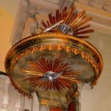 被加强的中世纪撒克逊人的教会Cristian,特兰西瓦尼亚的讲坛 免版税图库摄影