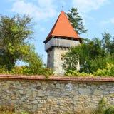 被加强的中世纪撒克逊人的福音派教会在村庄Cata,特兰西瓦尼亚,罗马尼亚 库存图片