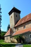 被加强的中世纪教会在村庄Malancrav,特兰西瓦尼亚 免版税库存照片