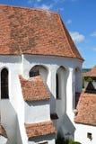 被加强的中世纪教会在村庄Viscri,特兰西瓦尼亚 库存图片