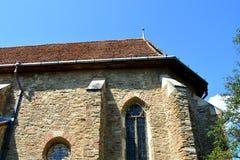 被加强的中世纪教会在Malancrav,特兰西瓦尼亚 库存图片