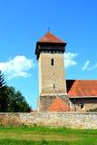 被加强的中世纪教会的塔在Malancrav,特兰西瓦尼亚 免版税库存照片