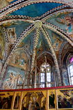 被加强的中世纪教会的天花板在Malancrav,特兰西瓦尼亚 免版税图库摄影
