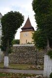 被加强的中世纪教会金巴夫,特兰西瓦尼亚 库存图片