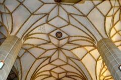 被加强的中世纪教会Biertan,特兰西瓦尼亚的天花板 库存图片