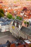 被加强的城堡Stadhuis,布鲁日顶视图  免版税库存照片