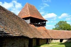 被加强的撒克逊人的中世纪教会在村庄Viscri,特兰西瓦尼亚 免版税库存图片