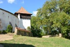 被加强的撒克逊人的中世纪教会在村庄Viscri,特兰西瓦尼亚 库存照片