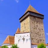 被加强的撒克逊人的中世纪教会Homorod,特兰西瓦尼亚 库存照片