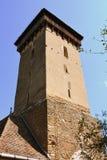 被加强的撒克逊人的中世纪教会Malancrav,特兰西瓦尼亚的塔 库存照片