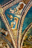 被加强的撒克逊人的中世纪教会Malancrav,特兰西瓦尼亚的天花板 图库摄影