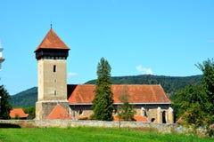 被加强的撒克逊人的中世纪教会Malancrav,特兰西瓦尼亚 库存图片