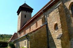 被加强的撒克逊人的中世纪教会Malancrav,特兰西瓦尼亚 免版税图库摄影