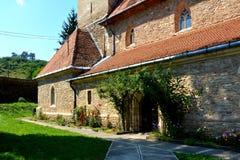 被加强的撒克逊人的教会在村庄Malancrav,特兰西瓦尼亚 免版税库存图片