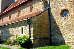 被加强的撒克逊人的教会在村庄Malancrav,特兰西瓦尼亚 免版税库存照片
