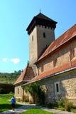 被加强的撒克逊人的教会在村庄Malancrav,特兰西瓦尼亚 库存图片