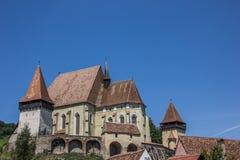 被加强的教会在Biertan镇  免版税图库摄影