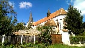 被加强的教会在Richis村庄  免版税图库摄影