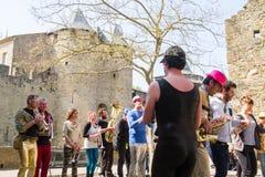 被加强的法国市卡尔卡松 免版税图库摄影