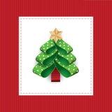 从被加点的丝带的传染媒介风格化圣诞树 皇族释放例证