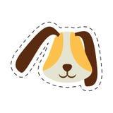 被加点的小狗面孔耳朵长的棕色宠物线 免版税库存照片