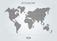 被加点的抽象世界地图 也corel凹道例证向量 黑圆的小点 免版税库存照片