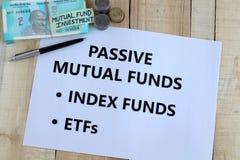 被动基金印度投资选择概念 免版税库存图片