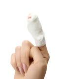 被包扎的手指 免版税图库摄影